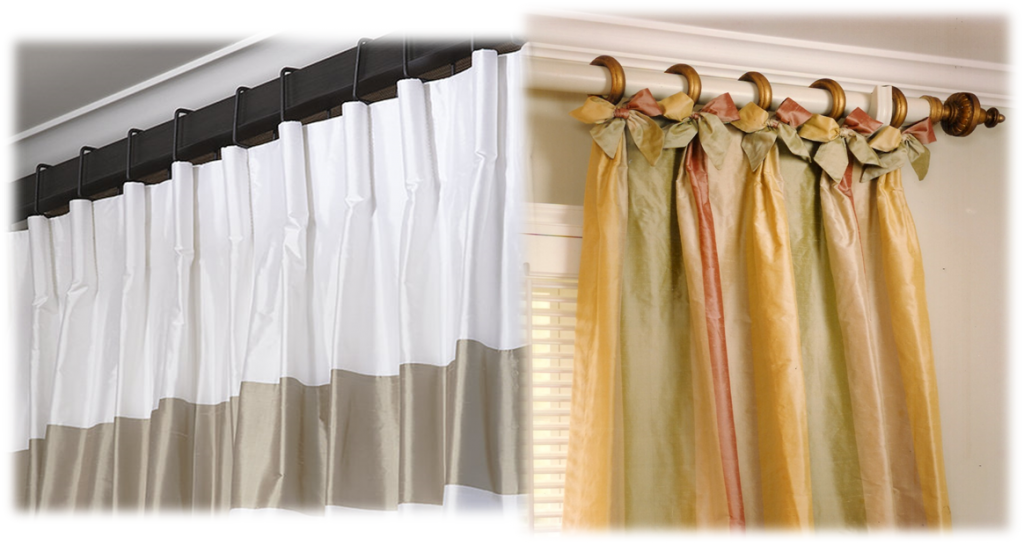 Drapery pleats are part of the glamour of the flowing  panels that adorn your windows. Carriage pleats, Parisian pleats with bows adorn the headers of these panels.